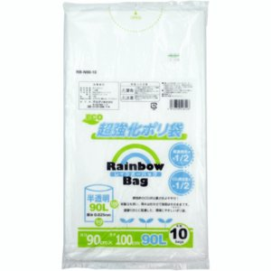 オルディ ECO 超強化ポリ袋 Rainbow Bag 半透明 90L 0.025mm×90cm×100cm 10枚入 ゴミ袋 (5761921)  送料別 通常配送|handsman