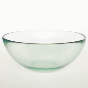 ガラスボウル サラダボウル ガラス ボウル 皿 / エコガラスボウル 丸 大 7027LUZ 直径約30cm 5850215 送料別 通常配送 / リサイクルガラス 透明|handsman