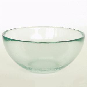 ガラスボウル サラダボウル ガラス ボウル 皿 / エコガラスボウル 丸 中 7028LUZ 直径18cm 5850223 送料別 通常配送 / リサイクルガラス 透明|handsman