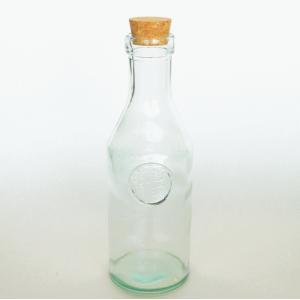 ガラス瓶 ガラスボトル コルク瓶 / エコガラスボトル コルク栓 ロゴ 大 容量約1.0L 5850444 送料別 通常配送 / リサイクルガラス ふた付き 蓋付|handsman