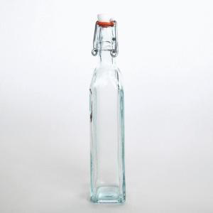 スイングボトル ガラスボトル / エコガラスボトル スイングトップ式 四角柱 小 容量120cc 5850495 送料別 通常配送 / リサイクルガラス ふた付き 蓋付 ガラス瓶|handsman