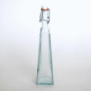 スイングボトル ガラスボトル / エコガラスボトル スイングトップ式 四角すい 大 容量300cc 5850541 送料別 通常配送 /リサイクルガラス ふた付き 蓋付 ガラス瓶|handsman