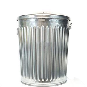 ゴミ箱 ブリキ缶 ふた付き 蓋 / メッキゴミ箱 中 約90L ブリキ バケツ 6519806 送料別見積 大型・割れ物|handsman