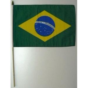 国旗 ブラジル 棒付き小サイズ 旗:30cm×45cm 棒の長さ:60cm (6662536)  送料別 通常配送|handsman