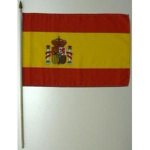 国旗 スペイン 棒付き小サイズ 旗:30cm×45cm 棒の長さ:60cm (6662560)  送料別 通常配送|handsman