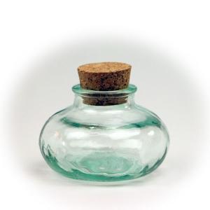 ガラス瓶 コルク瓶 ふた付き 蓋付 / エコガラスボトル コルク栓 丸型 5143 ミニ 容量90cc 6863671 送料別 通常配送 / リサイクルガラス ガラスボトル|handsman