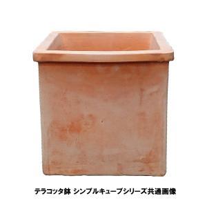 植木鉢 テラコッタ鉢 素焼き鉢 シンプルキューブポット VT107-21 21×21×21 3.8kg (7094396)  送料別 通常配送|handsman