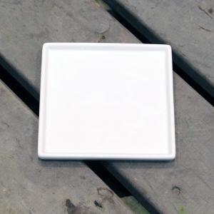 陶器鉢 植木鉢用 皿 受け皿 キューブ / ホワイトポット受け皿 角型 直径15cm 白 陶器鉢用 受皿 鉢皿 四角 園芸 ガーデニング 8905630 送料別 通常配送|handsman