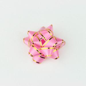 リボンフラワー ライン入りピンク Mサイズ 直径:50mm 9個入 (9710671) 【送料別】【通常配送】|handsman