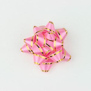リボンフラワー ライン入りピンク Lサイズ 直径:65mm 6個入 (9710680) 【送料別】【通常配送】|handsman