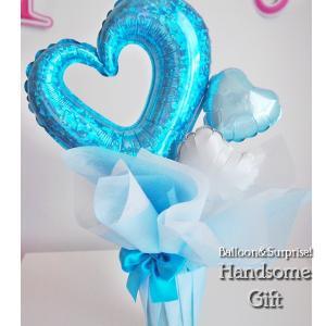 【送料無料】バルーンポット チェーンハート  ブルー 【ウエディングギフト お誕生日 発表会 敬老の日 母の日 バルーンギフト】 handsome-gift