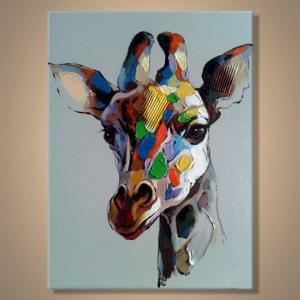 油絵 現代絵画 手書きモダン油絵 アニマルライン キリンA 2FAE-107 90×120cm