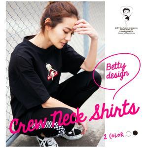 Tシャツ レディース 半袖 天竺 クルーネック Betty Boop(TM) ベティー ブープ(TM)|hangaa