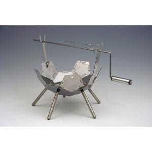 コンパクトで軽量な焚き火台 ソロでも活躍『ファイヤーピットKIKYO-M[R]』基本キット+お肉くるくるキット[R]|hango-konro
