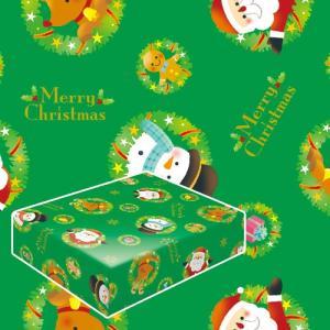 クリスマス包装紙・リースサンタ緑(半才判)
