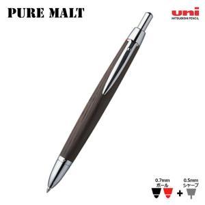 三菱uni ピュアモルト オークウッド・プレミアム・エディション ウィスキー樽から作った2色ボールペン+シャーペン|hanko-king