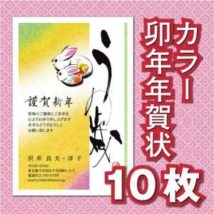 年賀状印刷 子年 令和2年 2020年 安い GB-20/カラー10枚 お年玉 年賀はがき 無地10...