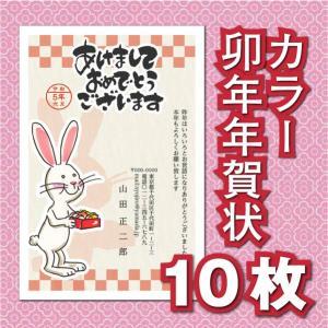 年賀状印刷 子年 令和2年 2020年 安い GC-17/カラー10枚 お年玉 年賀はがき 無地10...