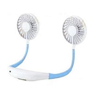 ハンディファン 首かけ扇風機 LEDライト付き ネックバンド型ファン 青色 2200mAh アロマケース付き (handy fan) hanryubank