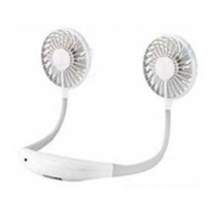 ハンディファン 首かけ扇風機 LEDライト付き ネックバンド型ファン 白色 2200mAh アロマケース付き (handy fan) hanryubank