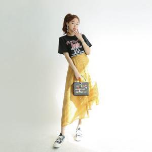 アシンメトリーストライプスカート|hanryuwood