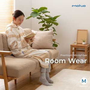 mofua プレミアムマイクロファイバー着る毛布 フード付 (ルームウェア) (M) 着丈110cm...