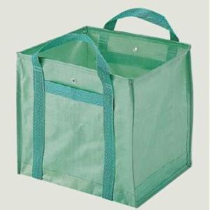 自立式グリーンバッグ【10枚セット/140L】(小サイズ:570×530×550)コンテナバッグ 折り畳み コンパクト 軽い 丈夫 ゴミ回収 建築資材 ポケット付|hanshin-k