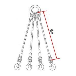 【コンドーテック】 JISロック止めワイヤー 9mm ×2M 裸 4点吊セット 4KT0902|hanshin-k|05
