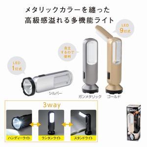 メタリック3WAYライト (96個セット) イベント 景品 粗品 まとめ買い ノベルティ 販促 販促品|hansoku-bellsimple