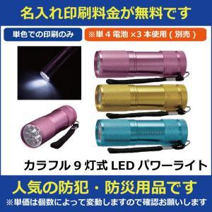 名入れ印刷料金無料 カラフル9灯式LEDパワーライト 販促グッズ ノベルティ 記念品 粗品 景品 防犯グッズ hn60129