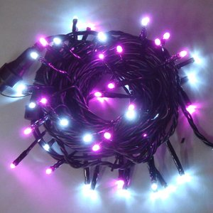 LEDイルミネーション/ストレートライト ホワイトピンク50球/コントローラー付/LEDホワイト/コロナ産業|hanwa-ex
