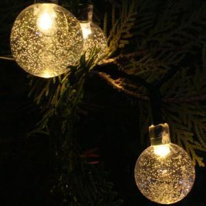 LEDイルミネーションライト ソーラーイルミネーションライト/ストレートライト クリスタルボール 電球色 30球 hanwa-ex 02