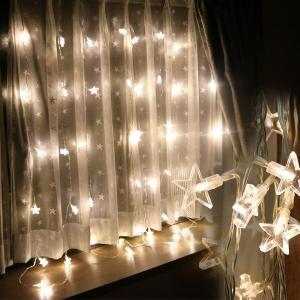 LEDイルミネーション カーテンライト48球スター /室内 イルミネーション カーテンライト 室内  クリスマス プレゼント  インテリア|hanwa-ex