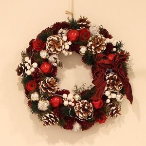 室内イルミネーション/クリスマスリース CXO-191M/LED・Ribbon Wreath -Red、Silver ball & pine M|hanwa-ex