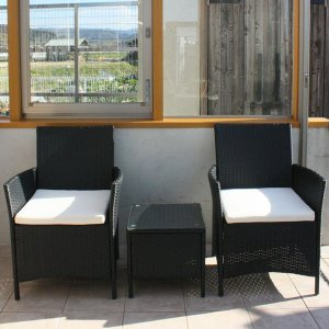 先行予約 2月上旬頃入荷予定 ラタンガラステーブル3点セット ブラック/ガーデンファニチャーセット ガーデンテーブルセット ガーデンテーブル|hanwa-ex|02