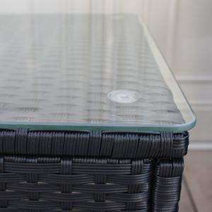 先行予約 2月上旬頃入荷予定 ラタンガラステーブル3点セット ブラック/ガーデンファニチャーセット ガーデンテーブルセット ガーデンテーブル|hanwa-ex|04