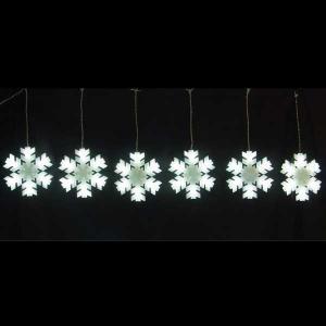 LEDイルミネーション/カーテンモチーフ/LED ホワイトスノーフレーク6連/イルミネーション/クリスマス/コロナ産業|hanwa-ex
