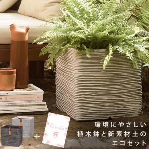 超栽培キット 大型植木鉢 Capiキューブポットリブ 30cm 1個 & 美をソイル 25L セット メーカー直送 代金引換 同梱不可 送料無料 hanwa-ex