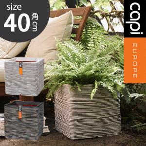 グラスファイバー 植木鉢/キューブ ブリック L/樹脂製植木鉢/ファイバークレイ/大型プランター|hanwa-ex
