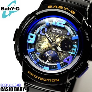 CASIO カシオ Baby-G ベビーG BGA-190GL-1B 海外モデル Beach Traveler Series アナログ レディース 腕時計 黒 ブラック 青 ブルー|hapian