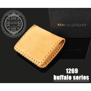 財布 メンズ 二つ折り 財布 折財布 水牛 レザー ブランド|hapian