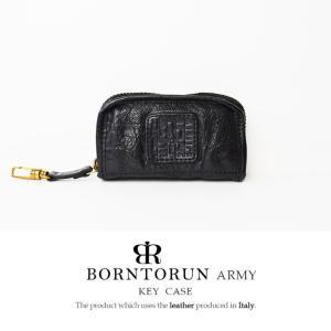 BORNTORUN ARMY ボルトラン アーミー メンズ キーケース 本革 メンズ 財布 イタリア製カーボンレザー キーケース 6連キーホルダー 牛革 ブラック|hapian