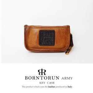BORNTORUN ARMY ボルトラン アーミー メンズ キーケース 本革 メンズ 財布 イタリア製カーボンレザー キーケース 6連キーホルダー 牛革 ブラウン|hapian
