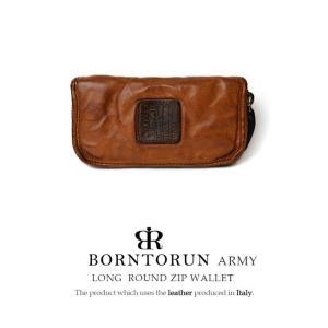 BORNTORUN ARMY ボルトラン アーミー メンズ 財布 メンズ 長財布 本革 イタリア製レザー ラウンドファスナー長財布 ヴィンテージ 牛革 ブラウン|hapian