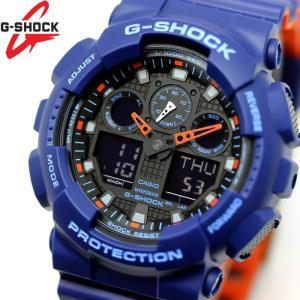 CASIO カシオ G-SHOCK Gショック 腕時計 メンズ アナデジ GA-100L-2A ブルー オレンジ ブラック|hapian