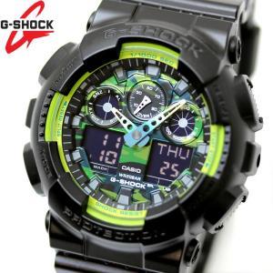 CASIO カシオ G-SHOCK Gショック 腕時計 メンズ アナデジ GA-100LY-1A ブラック グリーン 迷彩 カモフラージュ|hapian