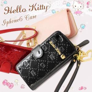 ハローキティ iPhone6ケース 手帳型 iPhoneケース Hello Kitty 本革 エナメル HKL4-14|hapian