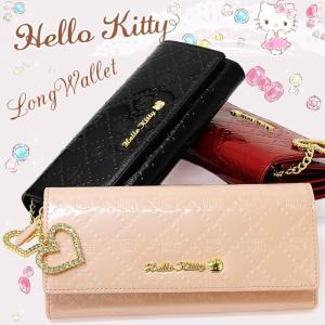 ハローキティ 財布 長財布 かぶせ折り財布 Hello Kitty 本革 エナメル HKL4-8|hapian