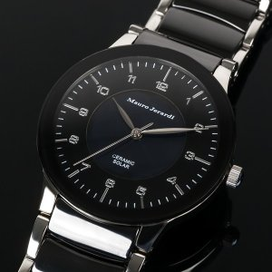 メンズ腕時計 マウロジェラルディ ウォッチ ソーラー 男性用腕時計 防水 電池交換不要 ブラックダイアル セラミック ブラック×シルバーの画像