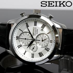 SEIKO セイコー クロノグラフ クオーツ メンズ 腕時計 SNAF69P1 ホワイト ブラック|hapian